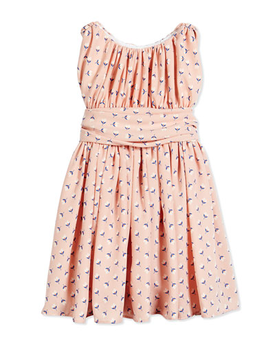 Floral Shirred Chiffon Dress, Pink, Size 7-14