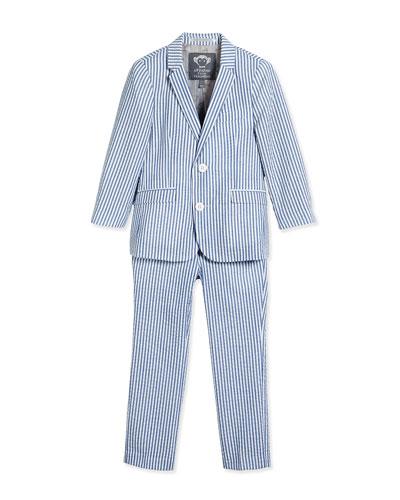 Striped Seersucker Jacket & Pants, White/Blue, Size 2T-14