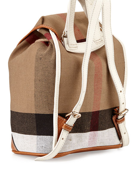 1a7cb3d35 Burberry Children's Mini Leather-Trim Canvas Backpack, White/Tan