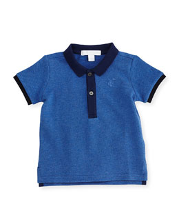 Short-Sleeve Pique Polo Shirt, Jet Blue, Size 3M-3Y
