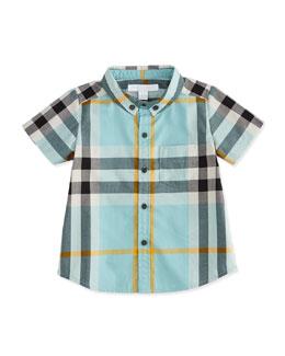 Short-Sleeve Check Poplin Shirt, Pale Cyan Green, Boy's Sizes 3M-3Y