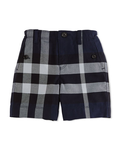 Cotton Check Shorts, Navy