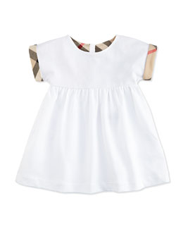 Smocked Pique Dress w/ Check Cuffs, White, Size 3M-3Y