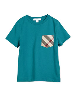 Jersey Tee w/ Check Pocket, Light Peridot, Size 4Y-14Y
