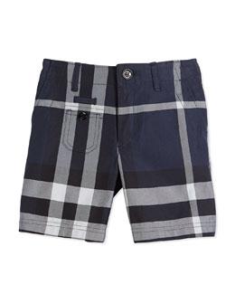 Cotton Check Shorts, Navy, Size 4Y-14Y