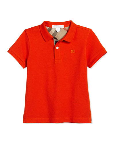 English Adventure Pique Polo Shirt, Bright Orange, Size 4-14