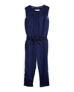 Sleeveless Pleated Ramie Jumpsuit, Lapis Blue, Size 4Y-14Y