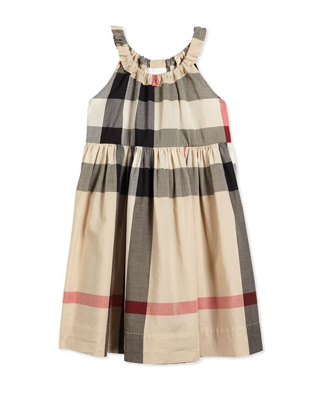 Elly Sleeveless Shift Sundress, New Classic Check, Size 4Y-14Y