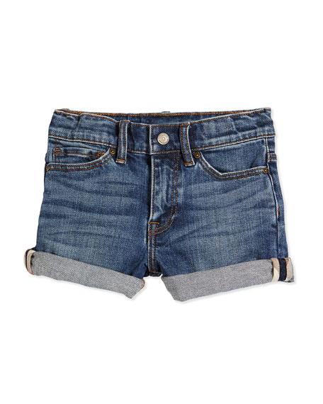 Stretch-Knit Denim Shorts, Indigo, Size 4Y-14Y