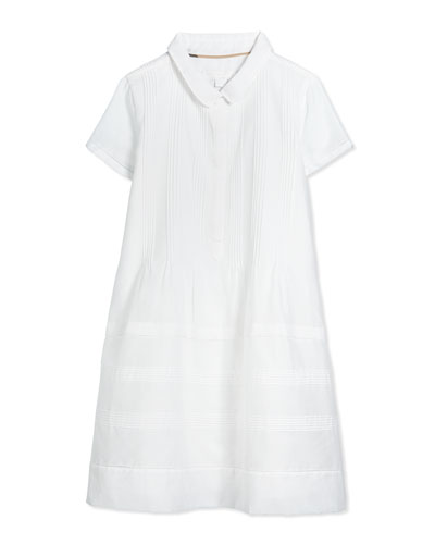 Pintucked Shirtdress, White, Size 4Y-14Y
