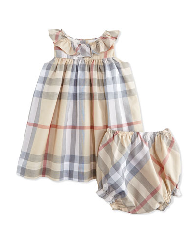 Florance Sleeveless Check Sundress, Pale Trench, Size 3M-3Y