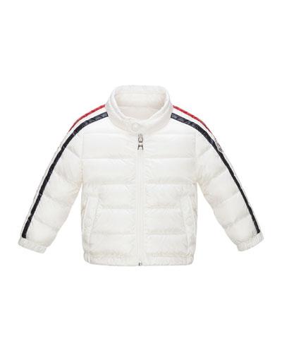 Zabelle Long Striped-Sleeve Puffer Jacket, Size 12 Months-3