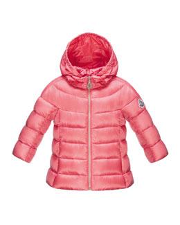 Alder Zip-Front Hooded Jacket, Coral, Size 12-24 Months