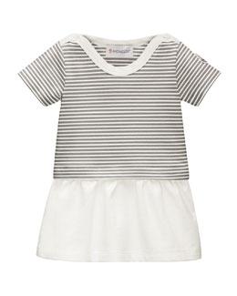 Ruffle-Trim Striped Pique Dress, Gray/White, Size 3-24 Months