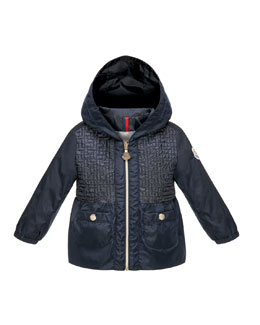 Chouchane Zip-Front Hooded Jacket, Navy, Size 12 Months-3