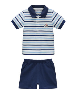 Striped Cotton Polo & Shorts, Navy/White, Size 6 Months-3