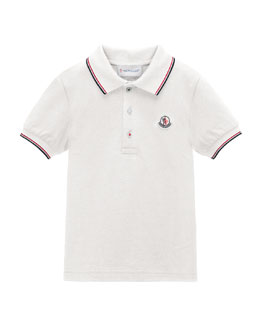 Tipped Pique-Knit Cotton Polo, Size 2-6
