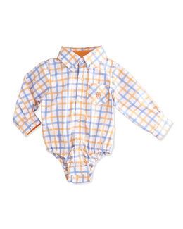 Check-Print Shirtzie Playsuit, Orange, Size 3-24 Months
