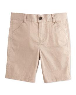 Khaki Twill Shorts, Beige, Size 3-24 Months