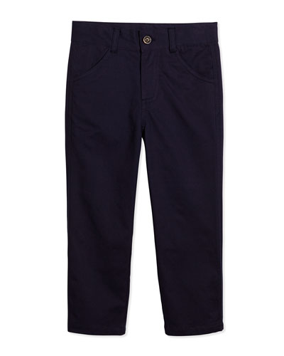 Classic Slim-Fit Twill Pants, Navy, Size 3-24 Months