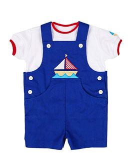 Sailboat Shortalls & Tee Set, Royal, 3-12 Months