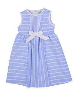 Sleeveless Ribbon-Striped Sundress, Blue/White, Size 2T-6X