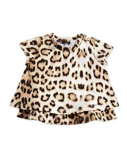 Leopard-Print Layered Ruffle Tunic, Leopard, Size 6M-24M