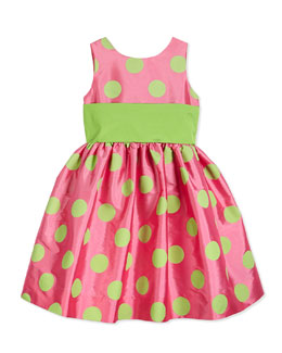 Satin Polka Dot Party Dress, Pink/Green, Size 12-24 Months
