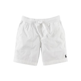 Cotton Poplin Varsity Shorts, White, Size 2-7