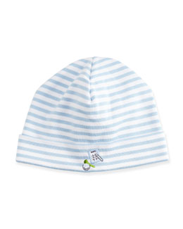 Chip & Putt Striped Baby Hat, Light Blue/White