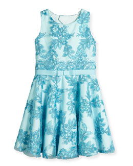 Lace-Overlay Tulle Circle Dress, Aqua, Size 2-6X