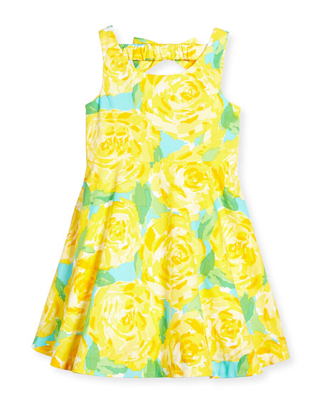 Kaya Bow-Back Fit-and-Flare Dress, Sunglow Yellow First Impression, Sizes 2-14