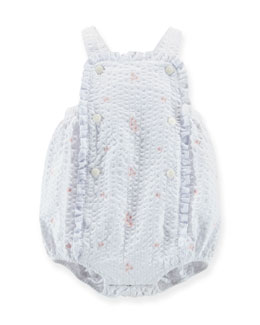 Floral-Embroidered Bubble Playsuit, White, 3-18 Months