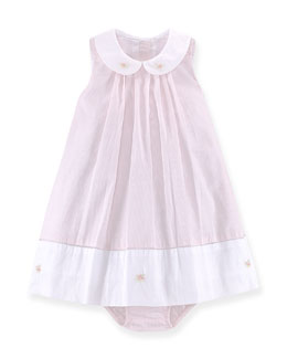 Pleated Shift Dress & Bloomers, Pink/White, Size 6-24 Months