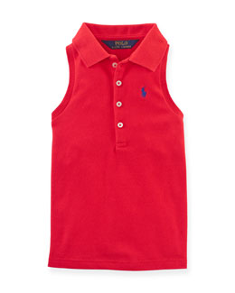 Sleeveless Stretch Mesh Polo Shirt, Red, Size 2-6X