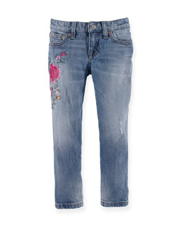 Floral-Trim Slim-Fit Denim Jeans, Blue, Size 2T-6X