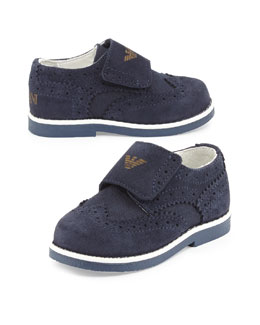 Suede Brogue Dress Shoe, Navy, Toddler Sizes 5.5-12.5