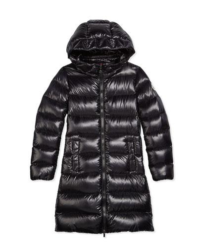 Suyen Hooded Down Coat, Black, Size 8-14