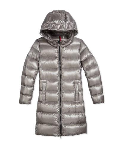 Suyen Hooded Down Coat, Gray, Size 8-14