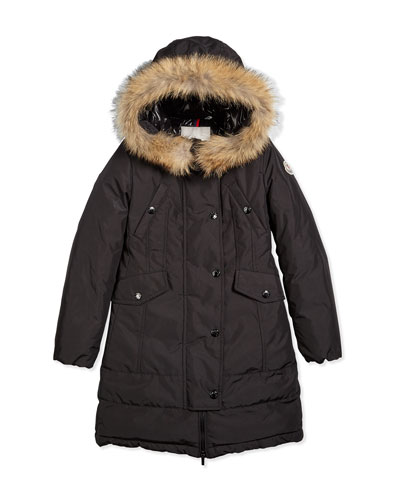 Arrious Fur-Trim Hooded Down Coat, Black, Size 8-14