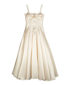 Long Pleated Gown w/ Bow, Cream, Size 7-14