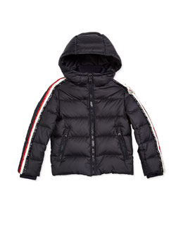 Odilon Stripe-Trim Hooded Down Coat, Navy, Size 8-14