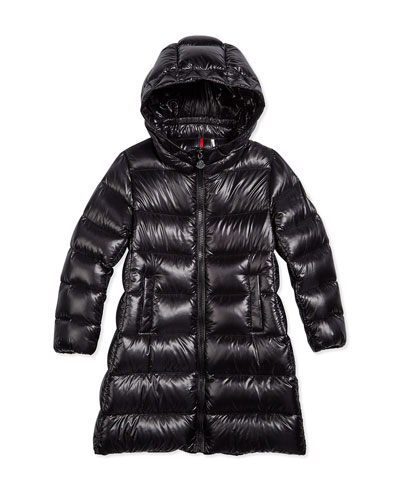 Suyen Hooded Down Coat, Black, Size 4-6