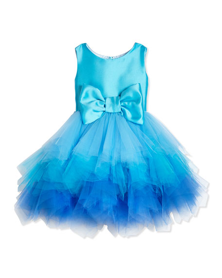 Tiered Tulle & Satin Dress, Aqua, Size 2-6X