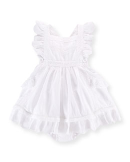 Lace-Trim Dobby Pinafore Dress & Bloomers, White, Size