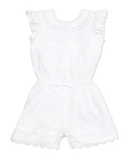 Sleeveless Embroidered Lace Romper, White, Size 6-24 Months
