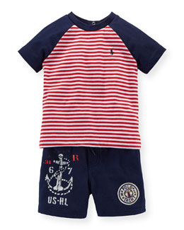 Striped Raglan Jersey Tee & Shorts Set, Red/Blue, Size 6-24 Months