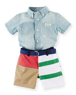 Chambray Shirt & Cotton Shorts Set, Blue/Multicolor, Size 6-24 Months