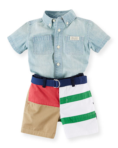 Chambray Shirt & Cotton Shorts Set, Blue/Multicolor, Size 6-24 Months
