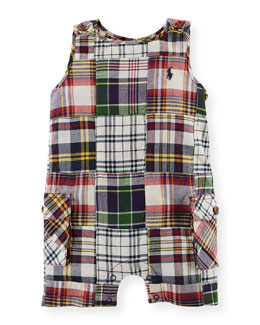 Sleeveless Madras Plaid Patchwork Shortall, Multicolor, Size 3-18 Months